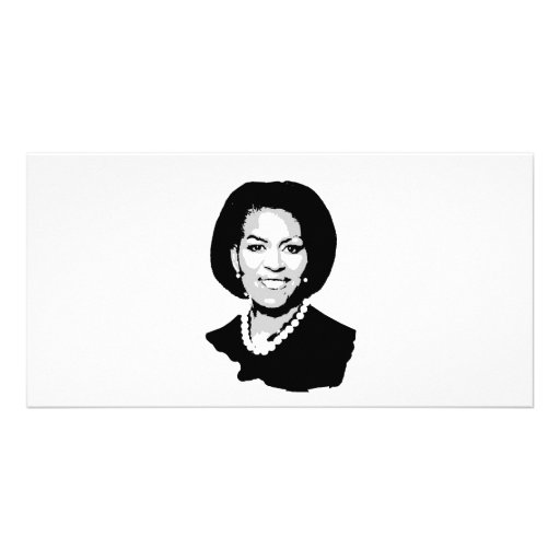 Michelle Obama outline Customized Photo Card