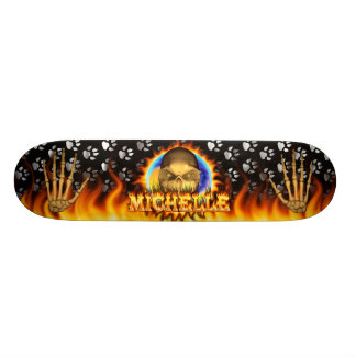 Michelle skull real fire and flames skateboard des