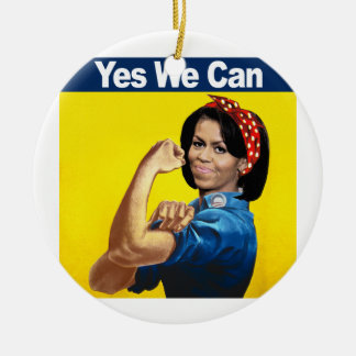 MICHELLE THE RIVETER - YES WE CAN.png Christmas Ornament