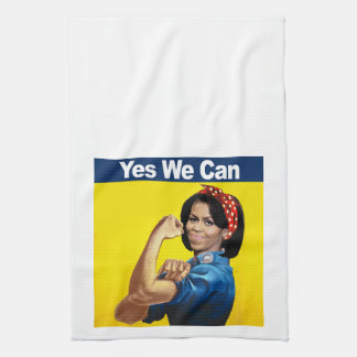 Michelle the Riveter - Yes we can.png Tea Towel