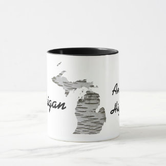 Michigan - America's High Five Mug with Birch Bark