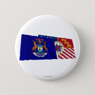 Michigan and Detroit Flags 6 Cm Round Badge