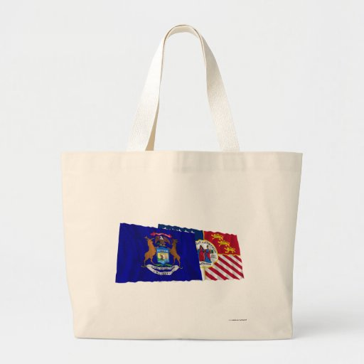 Michigan and Detroit Flags Tote Bags