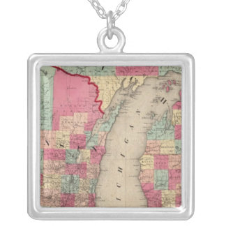Michigan and Wisconsin Silver Plated Necklace