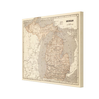 Michigan Atlas Map Canvas Print