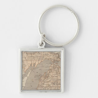 Michigan Atlas Map Silver-Colored Square Key Ring