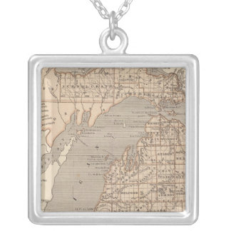 Michigan Atlas Map Silver Plated Necklace