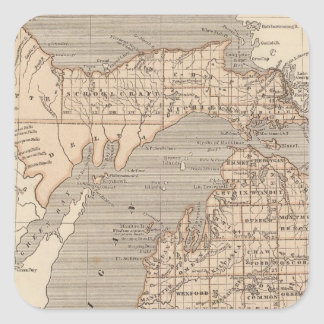 Michigan Atlas Map Square Sticker