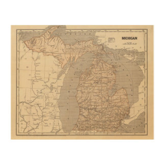 Michigan Atlas Map Wood Print