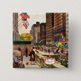 Michigan Avenue, Chicago by John Falter 15 Cm Square Badge