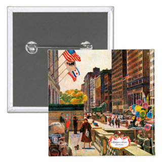Michigan Avenue, Chicago by John Falter 15 Cm Square Badge