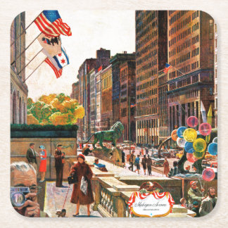 Michigan Avenue, Chicago by John Falter Square Paper Coaster