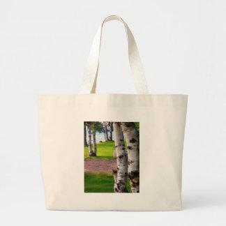Michigan Birch Trees By Lake Jumbo Tote Bag