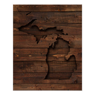 Michigan Brown Wood Carved Poster