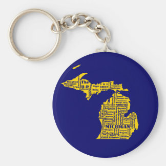 Michigan Cities Basic Round Button Key Ring