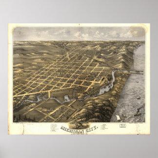 Michigan City Indiana 1869 Antique Panoramic Map Poster