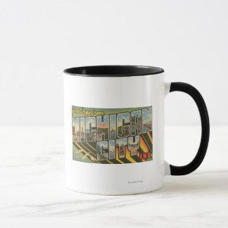 Michigan City, Indiana - Large Letter Scenes Mug
