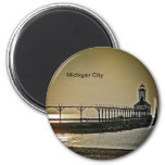 Michigan City Indiana Lighthouse 6 Cm Round Magnet