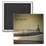 Michigan City Indiana Lighthouse Square Magnet