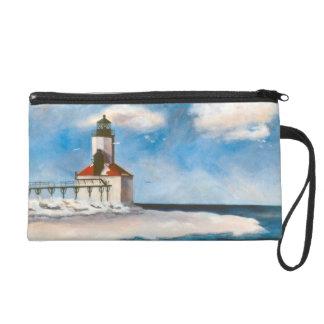 Michigan City Lighthouse Bag Wristlet Purse