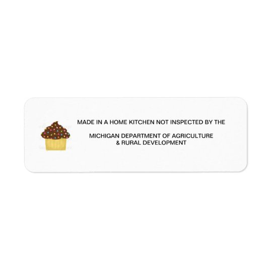 Michigan Cottage Food Law Label Return Address Label