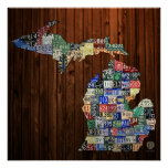Michigan Counties License Plate Map Canvas Print