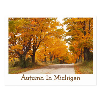"""MICHIGAN COUNTRY ROAD ALL AGLOW WITH FALL COLOR"" POSTCARD"
