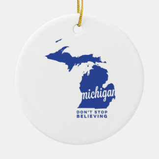 michigan | don't stop believing | blue christmas ornament