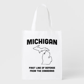 Michigan First Line of Defense from the Canadians Reusable Grocery Bag