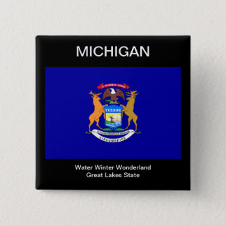 Michigan Flag 15 Cm Square Badge