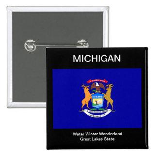 Michigan Flag 15 Cm Square Badge