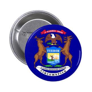 Michigan Flag 6 Cm Round Badge