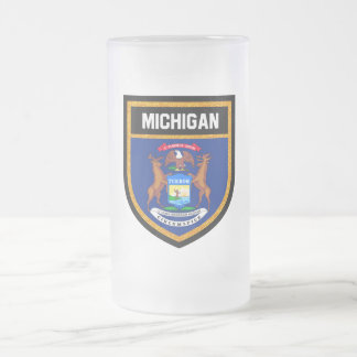 Michigan  Flag Frosted Glass Beer Mug