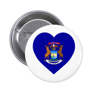 Michigan Flag Heart 6 Cm Round Badge