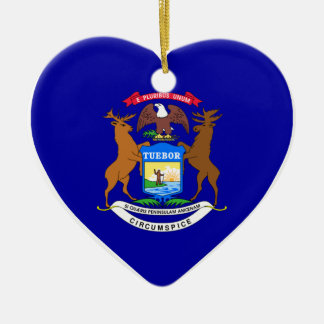 Michigan Flag Heart Christmas Ornament