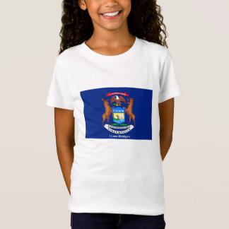 Michigan flag image for Girls'-T-Shirt-White T-Shirt
