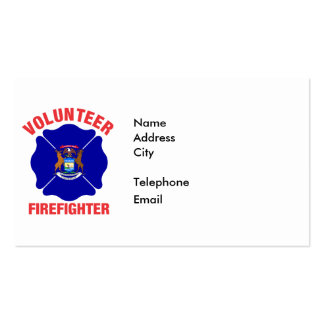 Michigan Flag Volunteer Firefighter Cross Business Cards