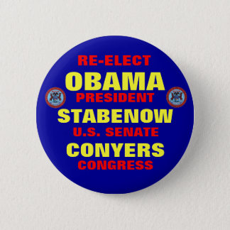Michigan for Obama Stabenow Conyers 6 Cm Round Badge