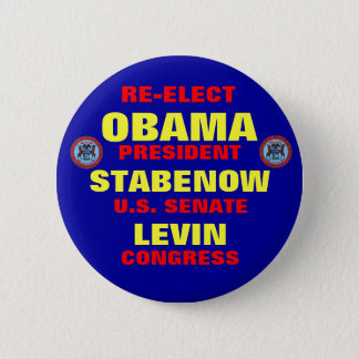 Michigan for Obama Stabenow Levin 6 Cm Round Badge