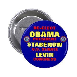 Michigan for Obama Stabenow Levin 6 Cm Round Badge