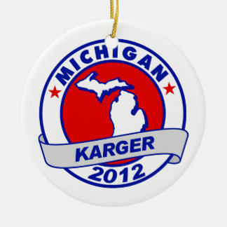 Michigan Fred Karger Double-Sided Ceramic Round Christmas Ornament