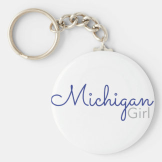 Michigan Girl Basic Round Button Key Ring