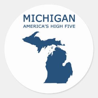 Michigan H5 Classic Round Sticker