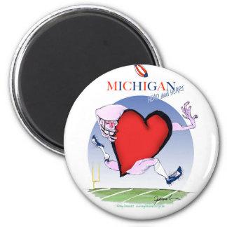 michigan head heart, tony fernandes 6 cm round magnet