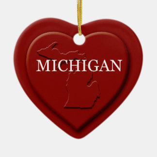 Michigan Heart Map Christmas Ornament
