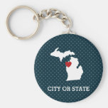 Michigan Home State City Map - Custom Heart Basic Round Button Key Ring