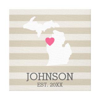 Michigan Home State City Map - Custom Wedding Canvas Print