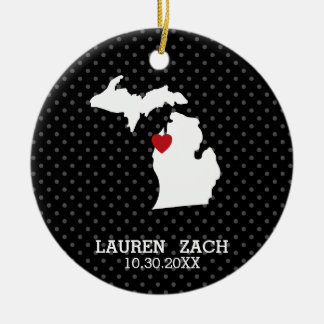 Michigan Home State City Map - Custom Wedding Christmas Ornament