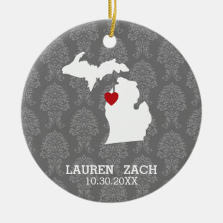 Michigan Home State City Map - Custom Wedding Round Ceramic Decoration