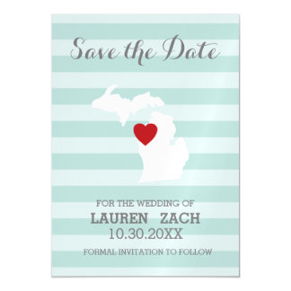 Michigan Home State City Map Wedding Save the Date Magnetic Invitations
